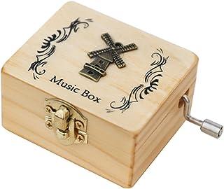 LAIYYI 1 handkrökt musiklåda, minispelklocka, av trä, handskuren, födelsedagspresent för barn (med spegel), style2 – utan ...