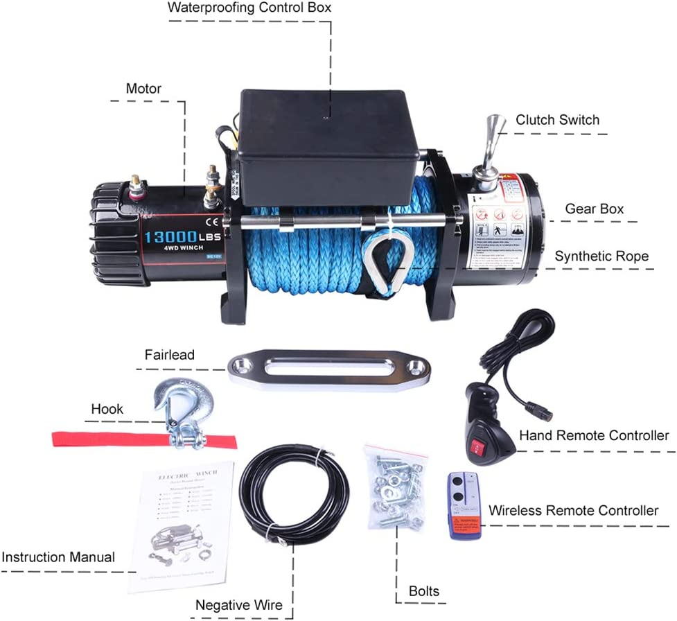cciyu Electric Winch store 12V 13000lbs Rope Synthetic for Towin Inventory cleanup selling sale