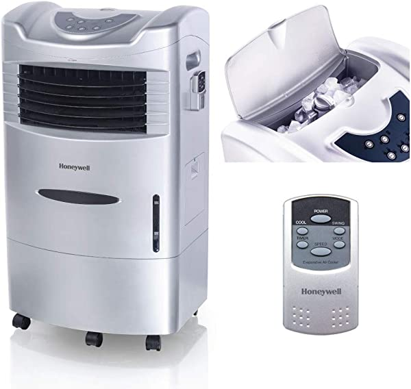 Honeywell 470 659CFM Portable Evaporative Cooler Fan Humidifier With Ice Compartment Remote CL201AE Silver