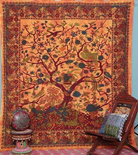 Handicrunch Orange Indian Tree of Life Bedspread Blossom bird Tapestry