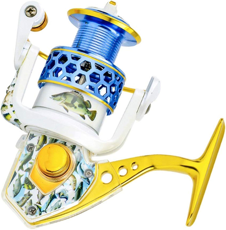 LLJPYX7L Spinnradrolle Gold, geeignet für Seefischerei, Outdoor-Angeln, leistungsstarke Angelrolle, 15 Edelstahllager, Kipphebel Links rechts austauschbar (Farbe   6000)