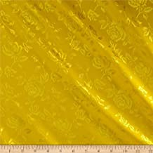 Ben Textiles Rose Satin Jacquard Fabric, Yellow, Fabric by the yard