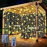 Solar Lichtervorhang Aussen, FANSIR 3 X 3m 300 LED Lichterketten Vorhang 8 Modi Fernbedienung Wasserdicht Solar Lichterketten Aussen für Gartendeko Balkon Hochzeit Weihnachten Innen (Warmweiß)