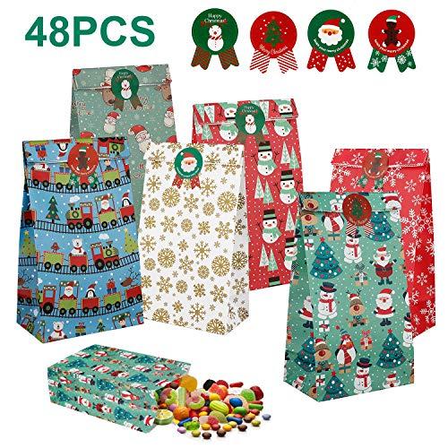 48 Stks Kerstmis Papier Gift Tassen, Kraft Papier Gift Tassen, Party Favor Pouch, Snoep Voedsel Brood Tassen, Snoep Verpakking Wrap Tote met 10 Tags