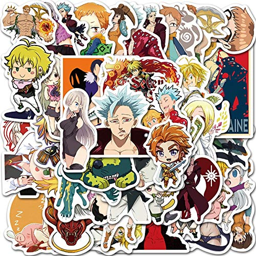50PCS Japan Anime Seven Deadly Sins Stickers Waterproof for DIY Laptop Guitar PS4 Skateboard Kids Toys Sticker