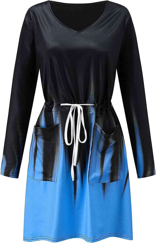 5665 Womens Summer Dresses V Neck Long Sleeves Chic Tye Dye Flame Tummy Control Drawstring Tshirt Dresses with Pockets