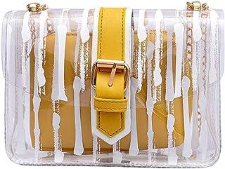 Wultia - Bags for Women Women Messenger Striped Crossbody Bag Chains Candy Color Jelly Bag 2Pcs Handbag Bolsa Feminina Yellow