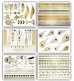 Terra Tattoos Temporary Tattoos Delila - 75+ Gold Metallic Boho Henna Inspired Tattoos Feathers, Dream Catcher, Hamsa Hand, Arrows, Arm Bands, Gold Silver Black Designs