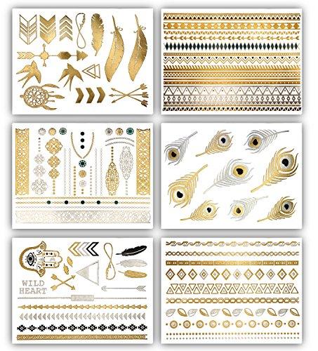 Terra Tattoos Temporary Tattoos Delila - 75 Boho Tattoos (Gold)