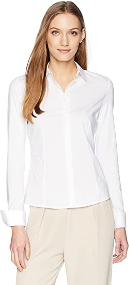 Long Sleeve Button Down Wrinkle Free Top