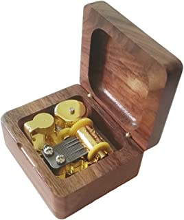 FnLy 18 Notes Retro Wind-Up Wooden Musical Box with Gold-Plating Movement in,Walnut Wood Music Gift Box,Tori No Uta Music Box