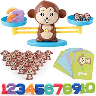 Monkey Number Balance Math Games Preschool Educational Toys Early Math Teaching Tool Counting Toy for Kids Learning Numbers, Basic Addition, Subtraction Kindergarten, Toddlers STEM Toy Math Balance