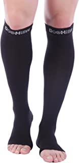 Doc Miller Open Toe Compression Socks 1 Pair 15-20 mmHg Firm Support Stockings