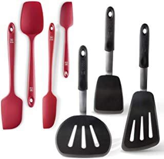 Di Oro Chef's Choice 7-Piece Silicone Spatula Set - 600F Heat-Resistant Rubber Spatulas - 3 Turner Spatulas and 4 Seamless Spatulas - Silicone Kitchen Utensil Set for Cooking and Baking (Red)