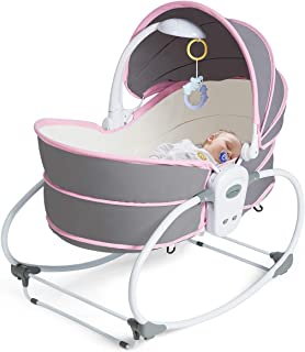 BABY JOY Portable Baby Rocking Bassinet, 5 in 1 Gliding Swing Cradle with Music and Toys, Multi-Functional Infant Crib Travel Sleeping Chair with Adjustable and Detachable Canopy for Newborn (Pink)