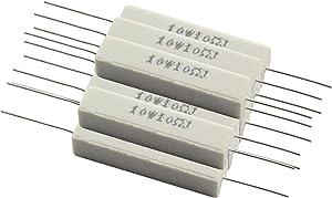 Tegg 10PCS Cement Resistors 10W Horizontal 10 ohm 5% Ceramic Wirewound Resistors