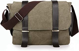 Mens Bag Color: Army Green Leisure Retro Briefcase Zipper Waterproof Canvas Crossbody Shoulder Bag High capacity