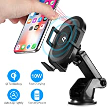 PRYMAX Wireless Car Charger, Automatic Clamping Car Phone Mount 10W Qi Fast Charging Phone Holder Compatible with iPhone X/XR/XS Max, Samsung S9/S10/S10+