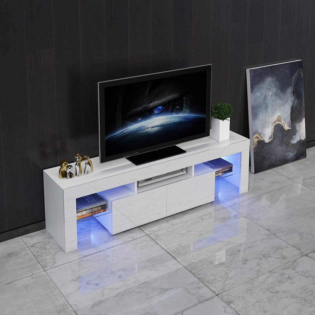 Coffee Sofa Gaming Table for Home Office OKBOP TV Stand with Led Lights White 2-Shelf Modern Minimalist TV Cabinet with Drawer Living Room Storage Shelves Entertainment Center
