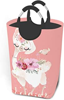 ZCHW Panier à Linge Belle Poubelle de Rangement imprimée Animal Mignon Lama alpaga, Panier à Linge avec poignées Panier Or...