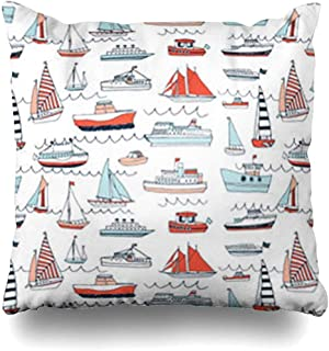 Throw Pillow Covers Launch Baby Water Transport Pattern Nautical Boat Boy Child Cruise Ship Nursery Decor Cushion Pillowcase Square Size 18 x 18 Inches HomeCases