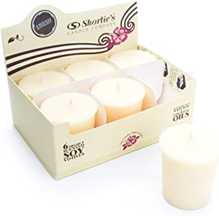 Fresh Peppermint Soy Votive Candles - Scented with Natural Fragrance Oils - 6 White Natural Votive Candle Refills - Christmas & Holiday Collection