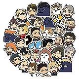 Pinenuts Haikyuu!! - Series Anime Stickers 40PCS Anime Stickers Waterproof Sunlight Graffiti Sticker Trolley Case Suitcase Guitar Sticker(Blue)