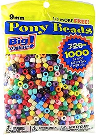 Pony Beads Multi Color 9mm 1000 Pcs in Bag