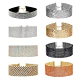 tpocean 8pcs mujeres niñas Fashion amplia Gargantilla Set Multirow Punk Metal collar de perlas brillantes y brillantes Wedding Party Prom Joyería
