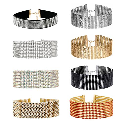tpocean 8pcs mujeres niñas Fashion amplia Gargantilla Set Multirow Punk Metal collar...