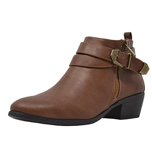 5e3be36383f TOETOS Women's Cowboy Block Heel Side Zipper Ankle Booties