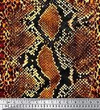 Soimoi Orange Baumwolle Ente Stoff Leopard & Schlange