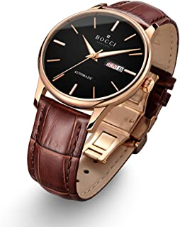 BOCCI Mens Rose Gold Watch Leather Band Japanese Automatic Watch Mechanical Casual Dress Wrist Watch Waterproof with Date Luminous