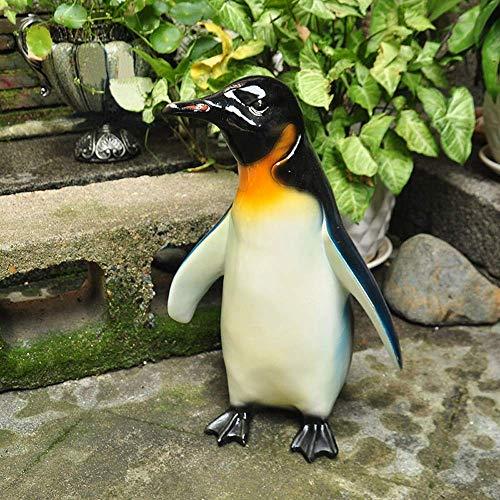 Decoración de Muebles Decoración de Exterior Decoración de jardín Campo idílico Pintado Lindo pingüino Decoración Jardín de casa Adornos de jardín al Aire Libre De pie (Color: Negro Tamaño: M)