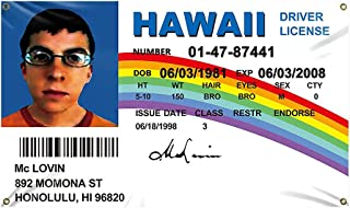 McLovin ID Flag 3x5Ft Fake Driver License Banner 3x5 Ft Funny Poster UV Resistance Fading & Durable Man Cave Wall Flag wit...