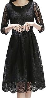 ELPIS レディース ファッション スリム 春 夏 レース ワンピース ドレス スカート 膝丈 スリーブ ラウンドネック 綿 各4色 S M L XL 2XL 3XL サイズ(ブラック,2XL)