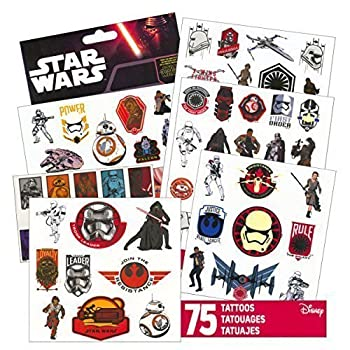 Star Wars Tattoos - 75 Assorted Temporary Tattoos ~ Kylo Ren Rey Captain Phasma Stormtroopers BB-8 and More! by Disney Studios