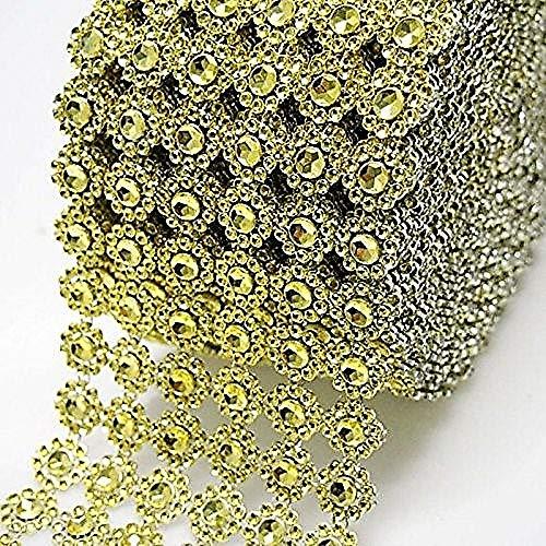 "Diamond Flower Shape Mesh Wrap Roll Faux Rhinestone Crystal Ribbon 4"" x 10 Yards (30 ft) … (Gold)"