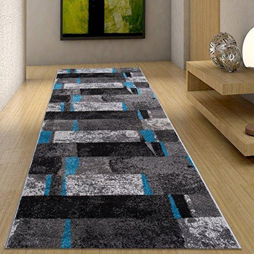 Alfombra De Pasillo Moderna Colección Twist - Color Antracita Gris Azúl De Diseño Cuadrado - Mejor Calidad - Diferentes Dimensiones S-XXXL 120 x 300 cm