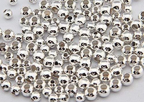 Fengge Environ. 1000pcs Serre-câblé Boule ronde bouchon Accessoires de bijoux en bricolage (Argent)