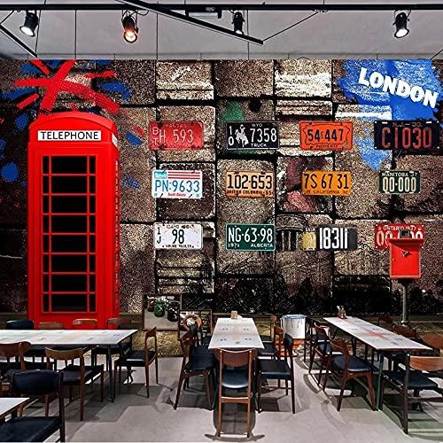 Papel Pintado Retro Nostálgico 3D Estéreo Pared De Ladrillo Cabina De Teléfono Roja Restaurante Café Revestimiento De Paredes