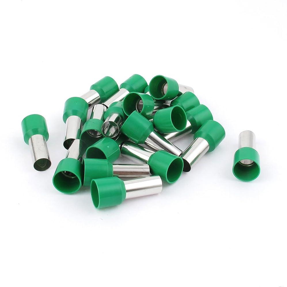 足音降伏素晴らしい良い多くのuxcell フェルール スリーブ 絶縁 チューブ型 グリーン 28mm全長 20個