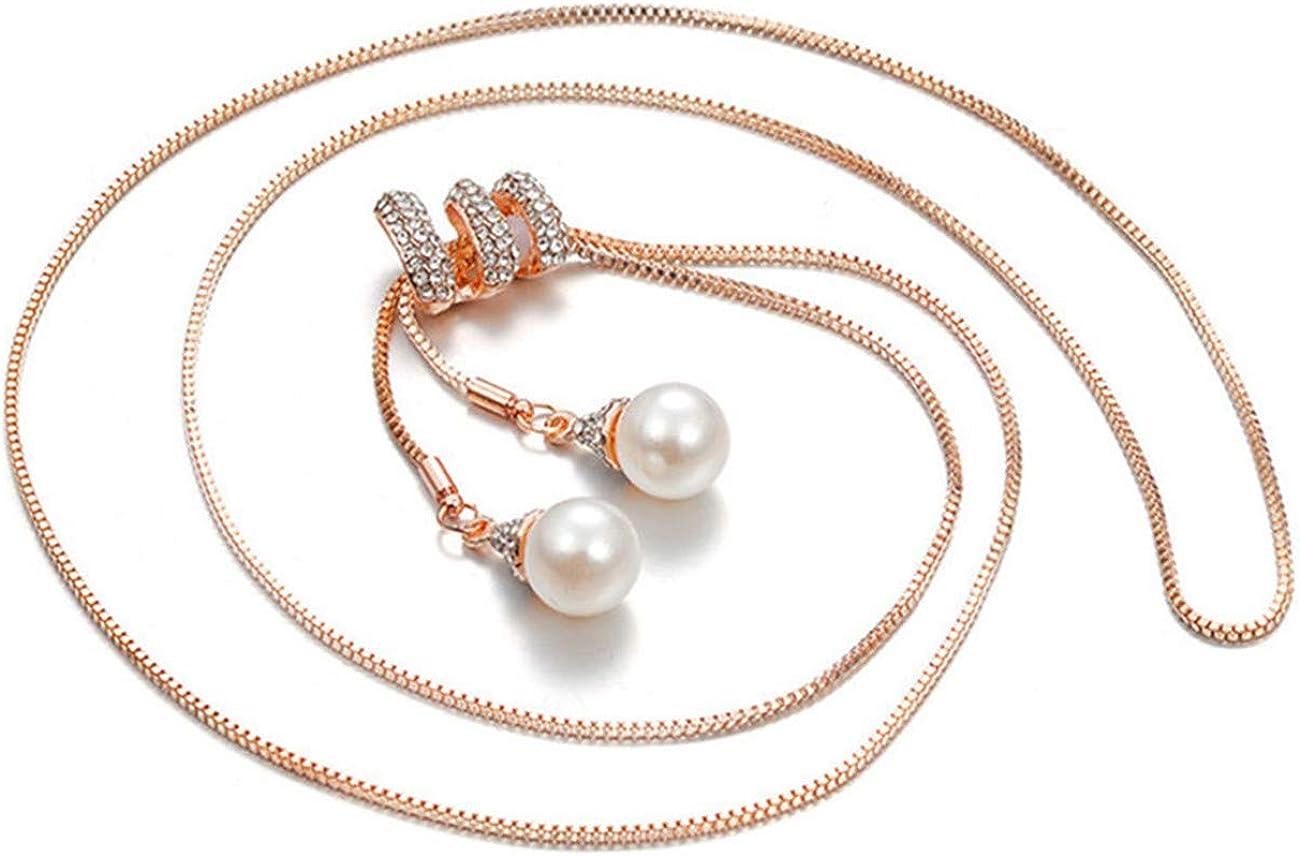 ZALING Spiral Rhinestone Imitation Pearl Beads Tassel Link Chain Pendant Long Sweater Necklace Women Charm Party Jewelry