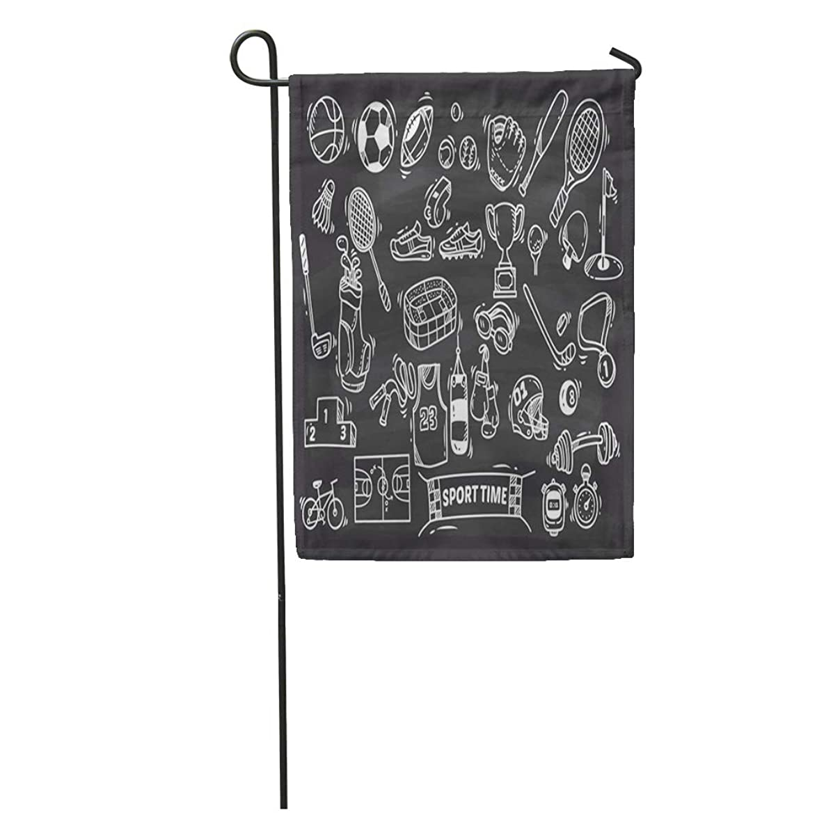 Semtomn Garden Flag Basketball Sport Doodle Chalk Fitness Sketch Activity Badminton Ball Baseball Home Yard House Decor Barnner Outdoor Stand 12x18 Inches Flag