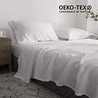 Simple&Opulence 100% Linen Bed Sheet Set 3pcs Hemstitch Design Luxury Bedding Set(White,Twin)