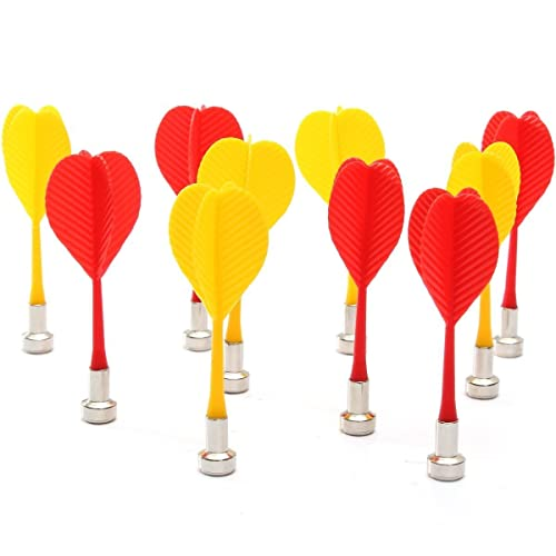 ULTNICE 10pcs Replacement Durable Safe Plastic Wing Magnetic Darts Bullseye Target Game Toys (Red Yellow)
