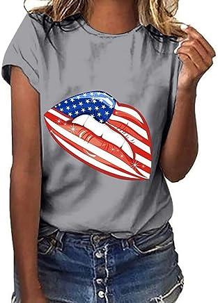 Women Workout Tank Shirts Flag Shirt Plus Size Lips Print Crew Neck Tank Tops Tee Blouse