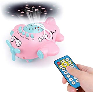 CapsA Modern Star Rotating Sky Projection Star Projector Lamp for Kids Best Gifts for Kids,Bedroom Small Aircraft Music Toy Starry Sky Projection Story Machine Early Childhood Education (Pink)
