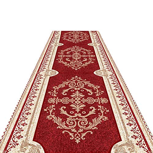 Rugs Area Red Floral Carpet Runners, Vintage Area Placing Below Sink and Dishwasher for Water Splash, Absorbent Non-Slip (Size : 80x200cm)