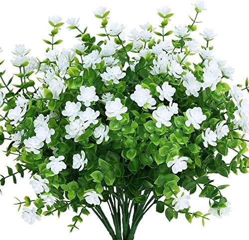 Boic 10 pcs Plantas Verdes Artificial Hojas Arbusto para Exterior, Retirable, Artificiales Decoracion Plastico Plantas Flor para Decoración de Fiestas, Bodas, Jardín, Hogar, Oficina (Flores Blancas)